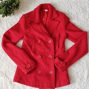 Divided Red Wool Pea Coat